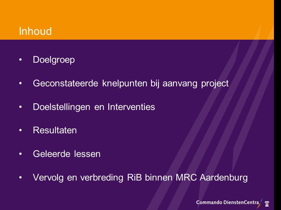 Inhoud Doelgroep Geconstateerde knelpunten bij aanvang project Doelstellingen en Interventies Resultaten Geleerde lessen Vervolg en verbreding RiB bin