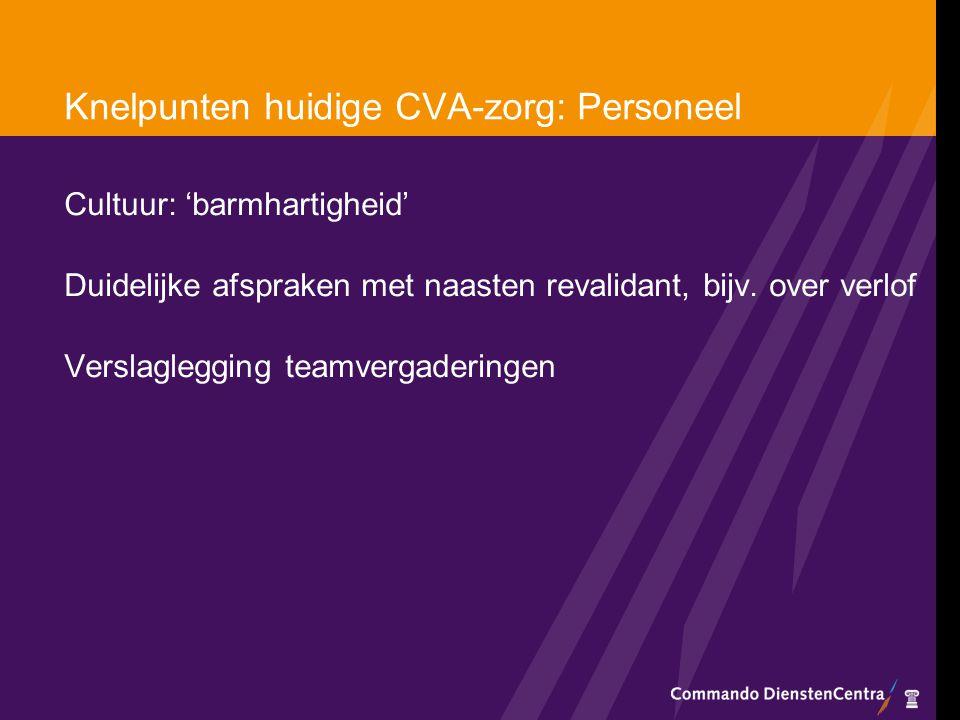 Knelpunten huidige CVA-zorg: Personeel Cultuur: 'barmhartigheid' Duidelijke afspraken met naasten revalidant, bijv. over verlof Verslaglegging teamver