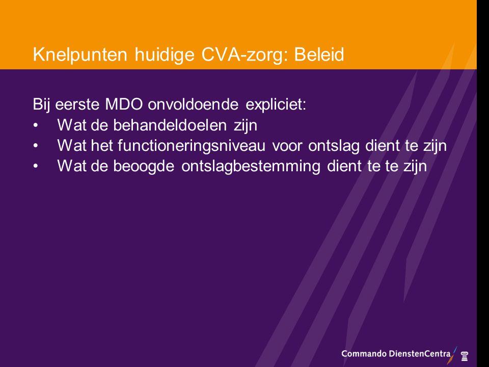 Knelpunten huidige CVA-zorg: Beleid Bij eerste MDO onvoldoende expliciet: Wat de behandeldoelen zijn Wat het functioneringsniveau voor ontslag dient t