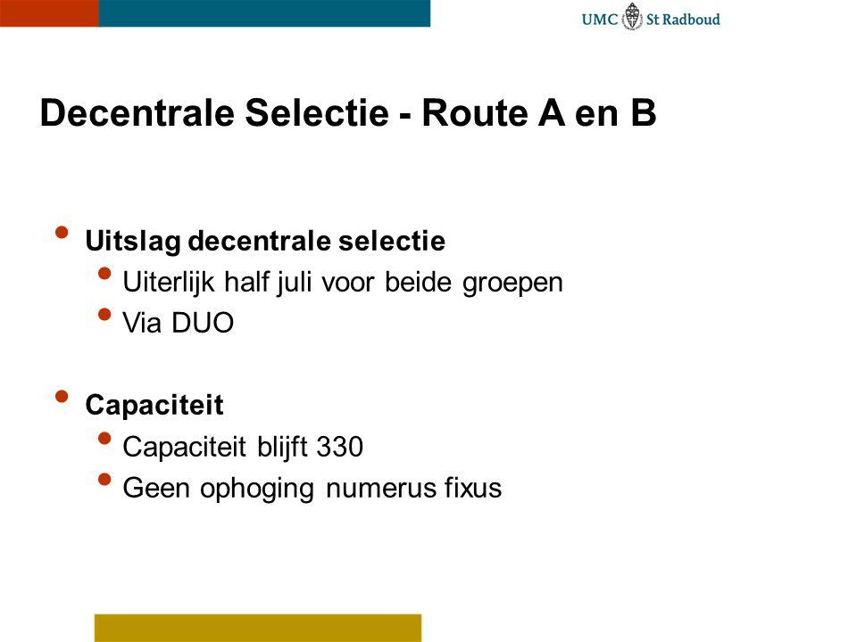 Decentrale Selectie - Route A en B Uitslag decentrale selectie Uiterlijk half juli voor beide groepen Via DUO Capaciteit Capaciteit blijft 330 Geen op
