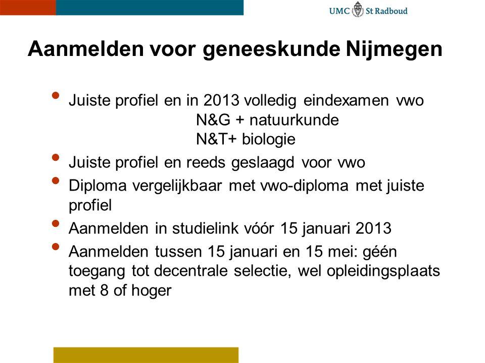 Aanmelden voor geneeskunde Nijmegen Juiste profiel en in 2013 volledig eindexamen vwo N&G + natuurkunde N&T+ biologie Juiste profiel en reeds geslaagd