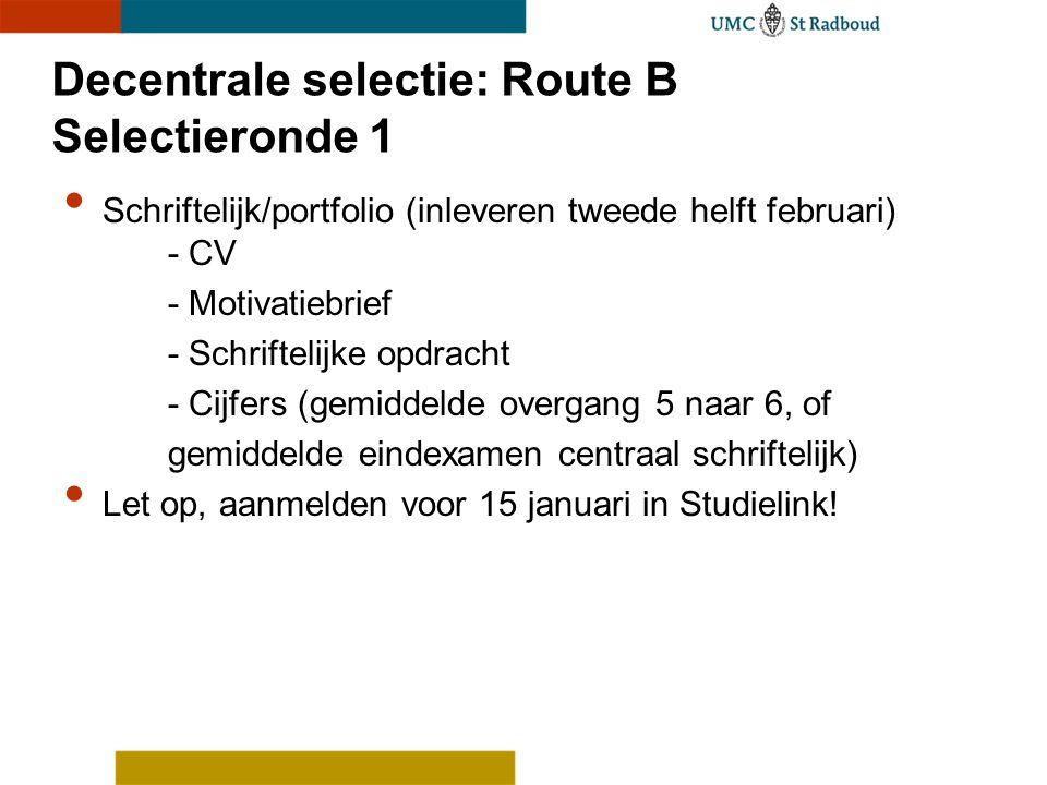 Decentrale selectie: Route B Selectieronde 1 Schriftelijk/portfolio (inleveren tweede helft februari) - CV - Motivatiebrief - Schriftelijke opdracht -