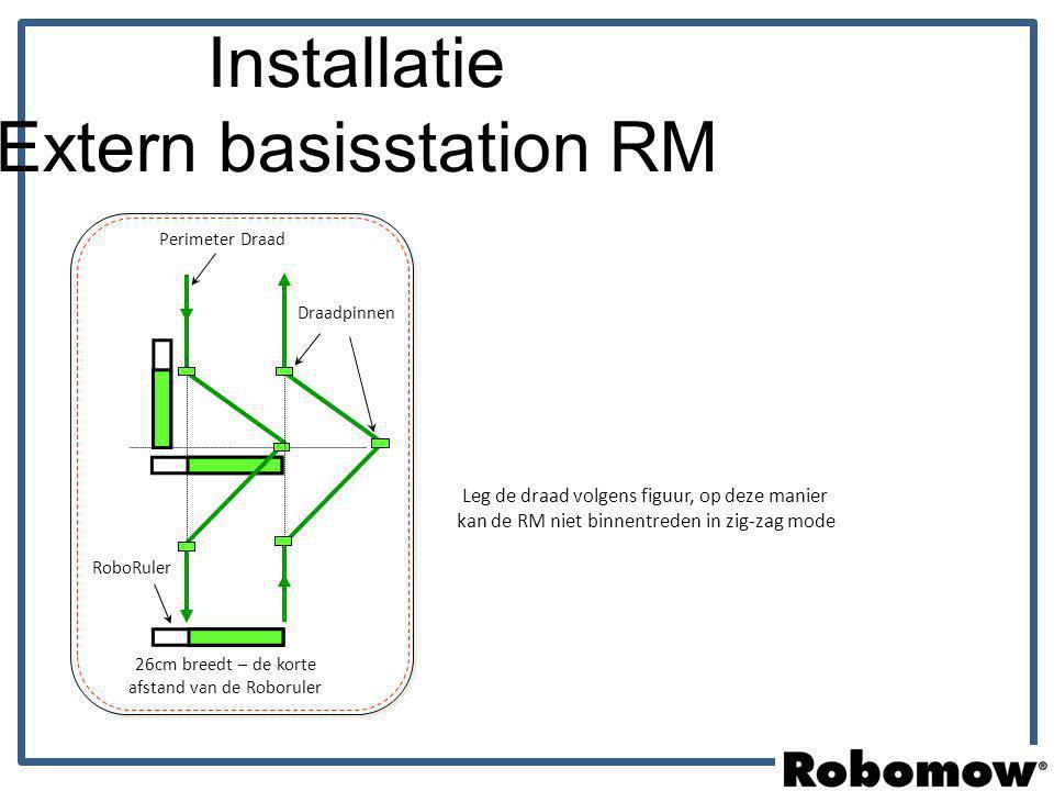 Installatie Extern basisstation RM 26cm breedt – de korte afstand van de Roboruler Perimeter Draad RoboRuler Draadpinnen Leg de draad volgens figuur,