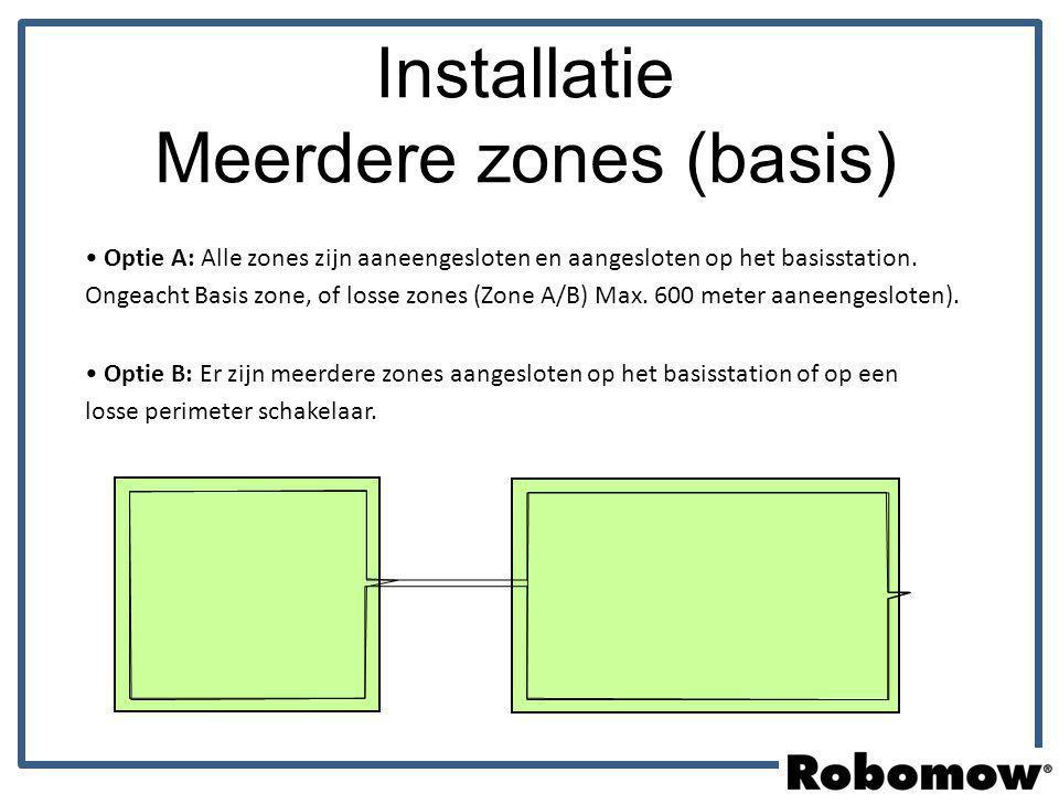 Optie A: Alle zones zijn aaneengesloten en aangesloten op het basisstation. Ongeacht Basis zone, of losse zones (Zone A/B) Max. 600 meter aaneengeslot