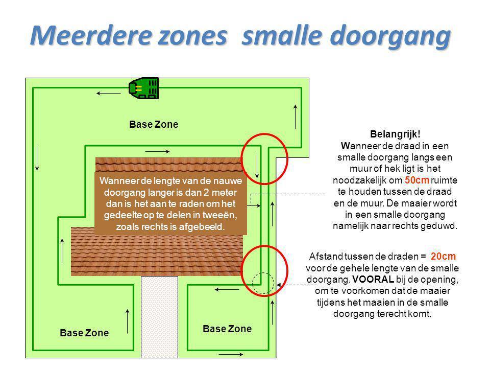 Base Zone Afstand tussen de draden = 20cm voor de gehele lengte van de smalle doorgang. VOORAL bij de opening, om te voorkomen dat de maaier tijdens h