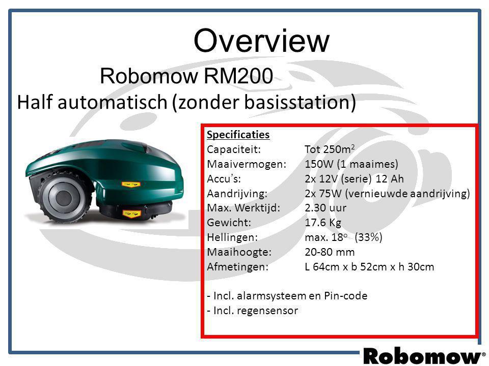 Overview Robomow RM200 Half automatisch (zonder basisstation) Specificaties Capaciteit: Tot 250m 2 Maaivermogen: 150W (1 maaimes) Accu's: 2x 12V (seri