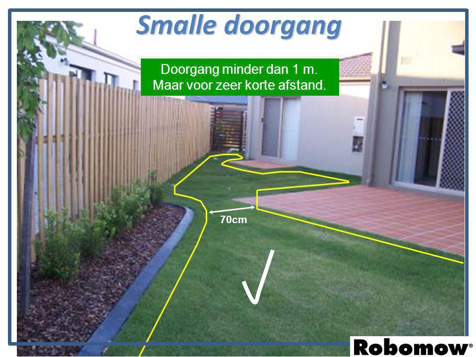 Smalle doorgang 70cm Doorgang minder dan 1 m. Maar voor zeer korte afstand.