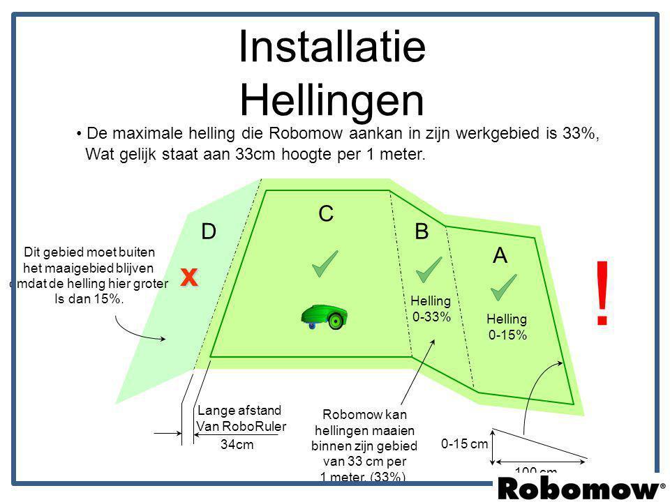 De maximale helling die Robomow aankan in zijn werkgebied is 33%, Wat gelijk staat aan 33cm hoogte per 1 meter. 34cm Lange afstand Van RoboRuler Helli