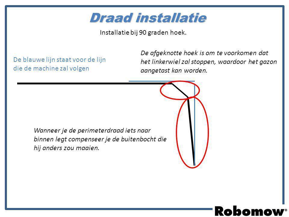 De blauwe lijn staat voor de lijn die de machine zal volgen Wanneer je de perimeterdraad iets naar binnen legt compenseer je de buitenbocht die hij an