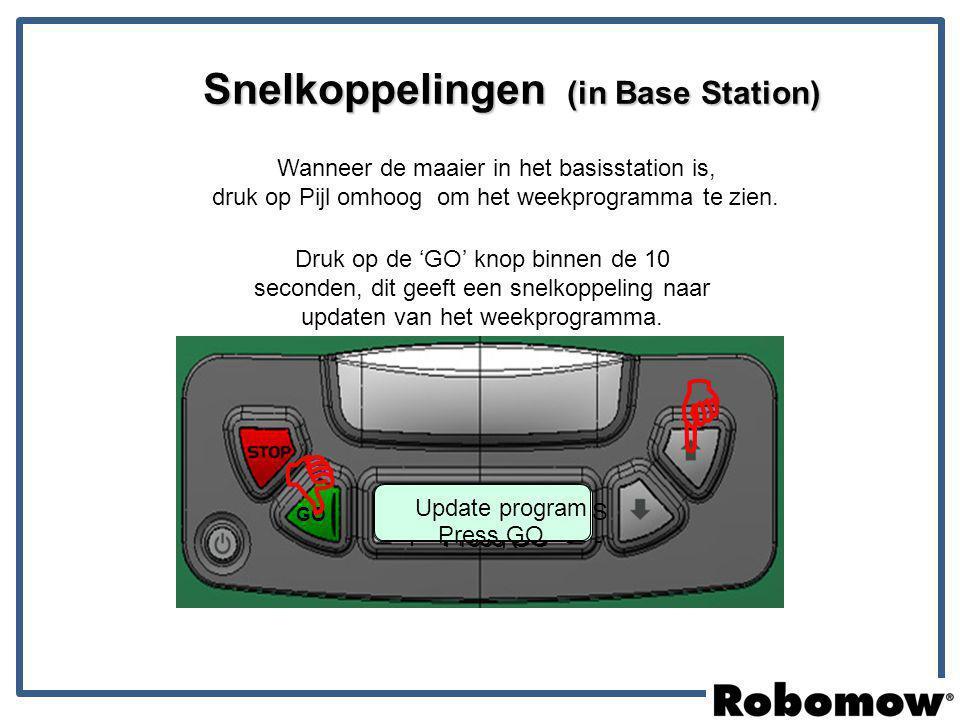 16:38 Mo 16:00 Press GO GO Snelkoppelingen (in Base Station) Press GO + + - R + - - M T W T F S S Wanneer de maaier in het basisstation is, druk op Pi