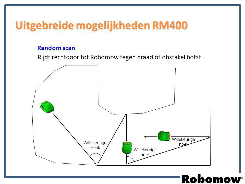 Random scan Rijdt rechtdoor tot Robomow tegen draad of obstakel botst. Willekeurige Hoek Willekeurige hoek Uitgebreide mogelijkheden RM400