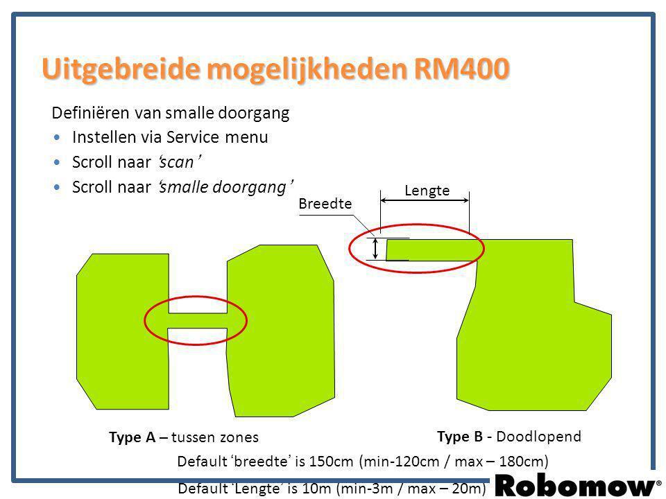 Instellen via Service menu Scroll naar 'scan' Scroll naar 'smalle doorgang' Definiëren van smalle doorgang Type A – tussen zones Type B - Doodlopend L