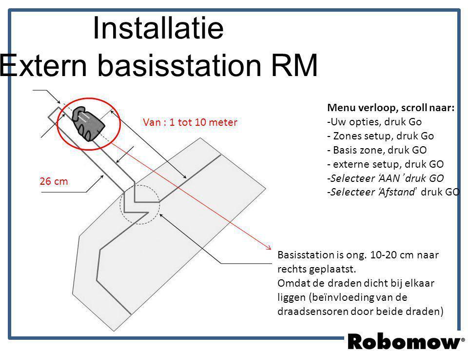 Installatie Extern basisstation RM 26 cm Van : 1 tot 10 meter Menu verloop, scroll naar: -Uw opties, druk Go - Zones setup, druk Go - Basis zone, druk