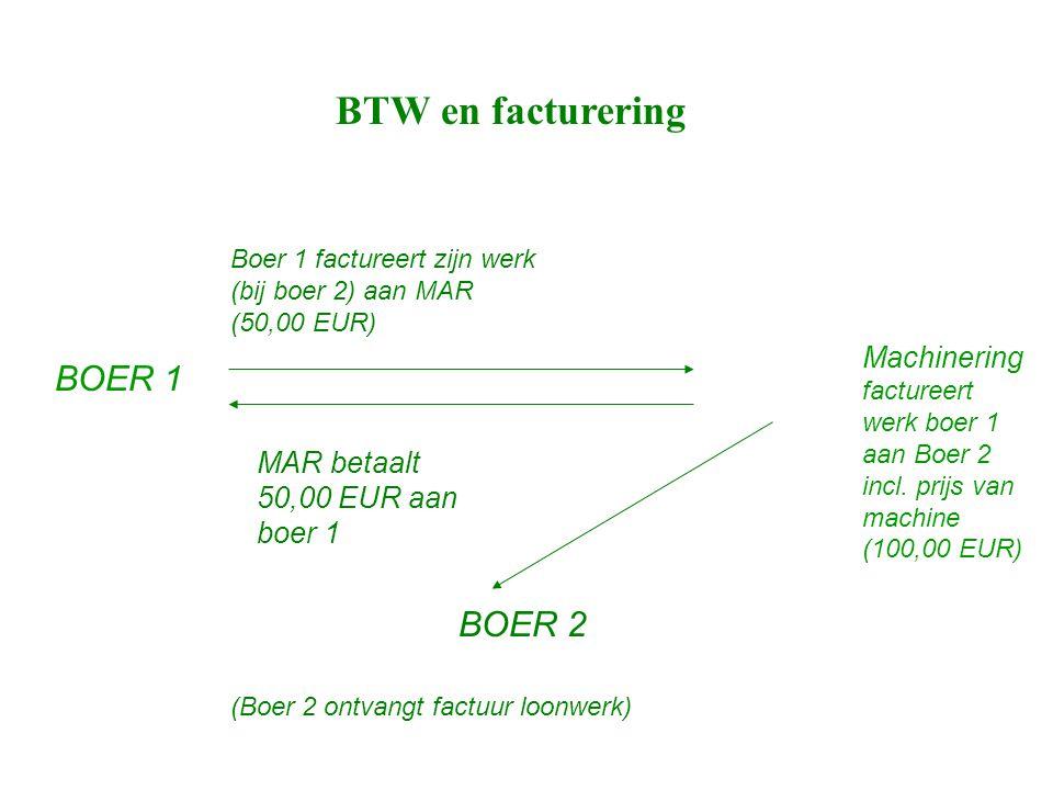 BTW en facturering BOER 1 Machinering factureert werk boer 1 aan Boer 2 incl.
