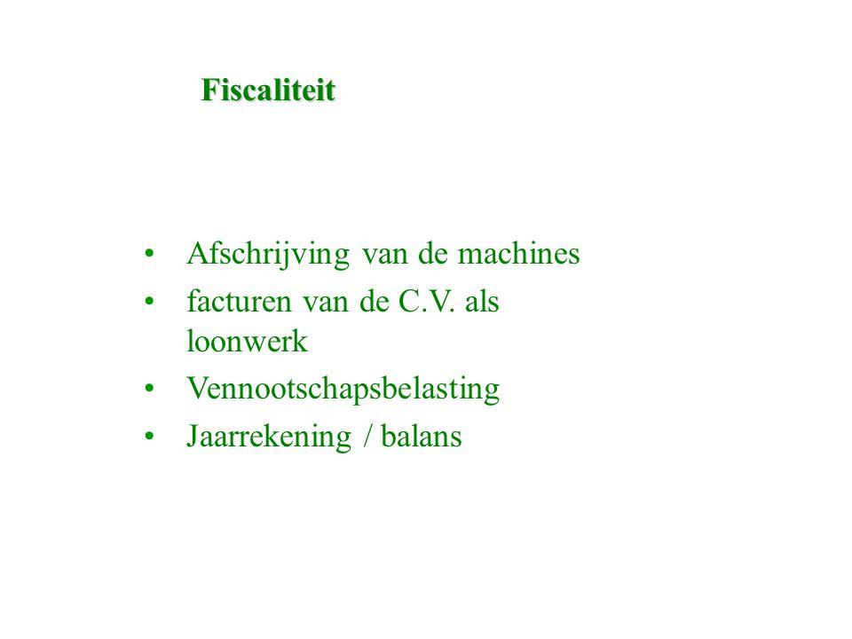 Fiscaliteit Afschrijving van de machines facturen van de C.V.