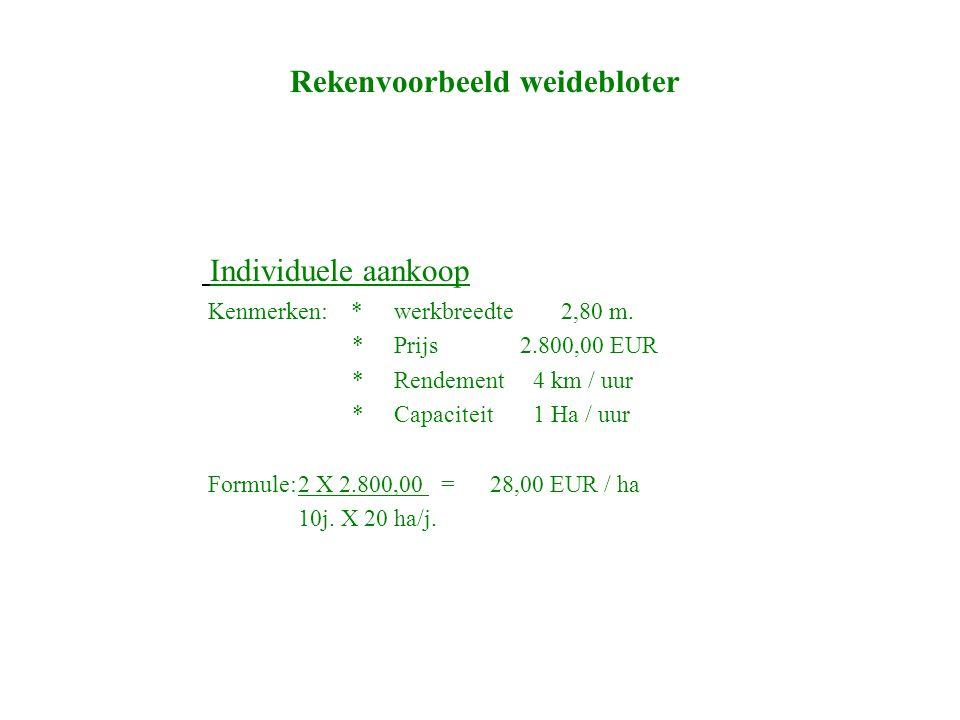 Rekenvoorbeeld weidebloter Aankoop machinering Kenmerken: *werkbreedte 3,60 m *prijs 3.950,00 EUR *Rendement 5 km / uur *Capaciteit 1,3 Ha / uur Formule:2 X 3.950,00 = 7,52 EUR / ha 7j.