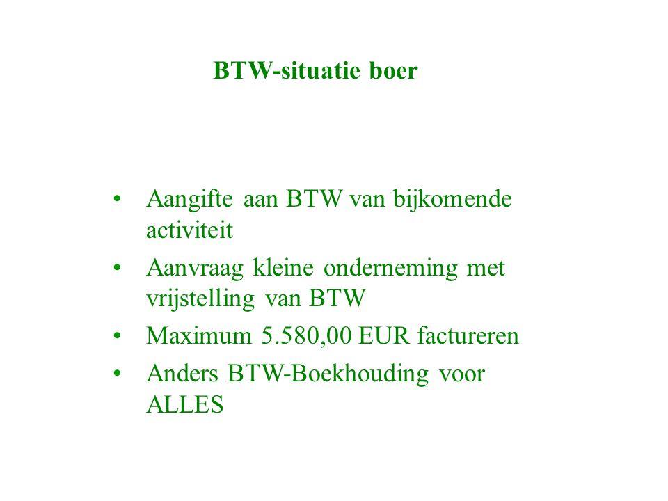 BTW-situatie boer Aangifte aan BTW van bijkomende activiteit Aanvraag kleine onderneming met vrijstelling van BTW Maximum 5.580,00 EUR factureren Anders BTW-Boekhouding voor ALLES