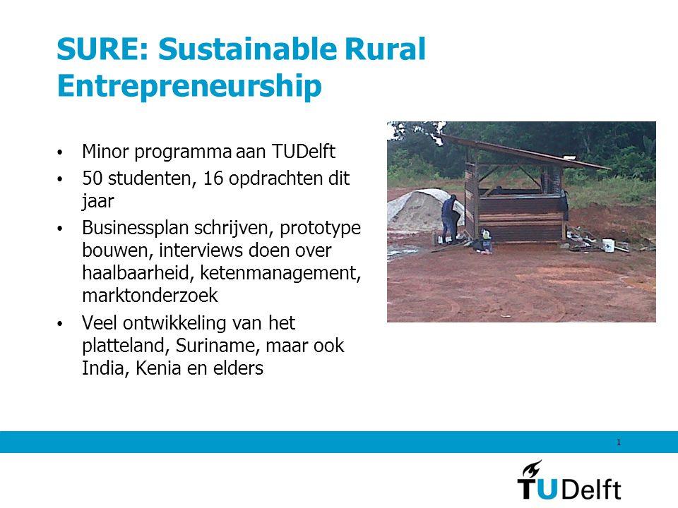 SURE: Sustainable Rural Entrepreneurship Minor programma aan TUDelft 50 studenten, 16 opdrachten dit jaar Businessplan schrijven, prototype bouwen, interviews doen over haalbaarheid, ketenmanagement, marktonderzoek Veel ontwikkeling van het platteland, Suriname, maar ook India, Kenia en elders 1
