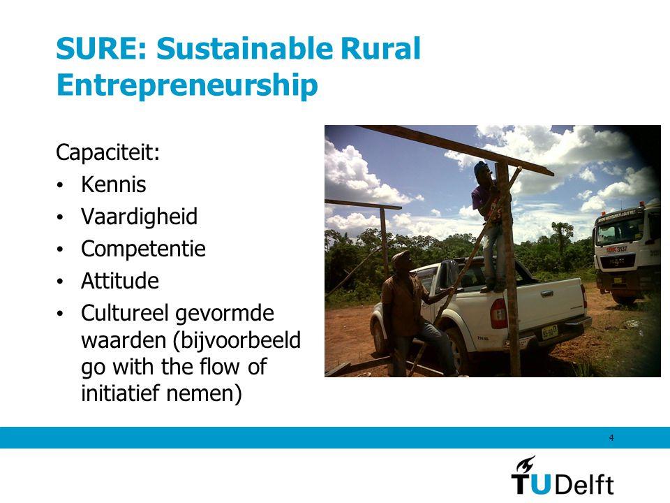 SURE: Sustainable Rural Entrepreneurship Capaciteit: Kennis Vaardigheid Competentie Attitude Cultureel gevormde waarden (bijvoorbeeld go with the flow of initiatief nemen) 4