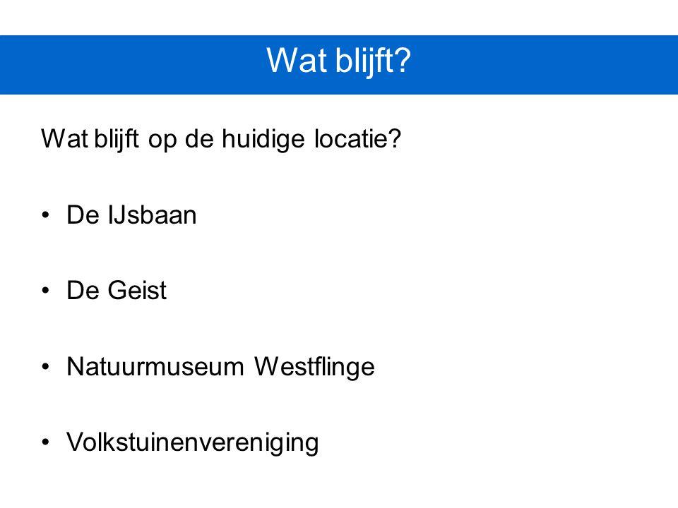 Wat blijft? Wat blijft op de huidige locatie? De IJsbaan De Geist Natuurmuseum Westflinge Volkstuinenvereniging