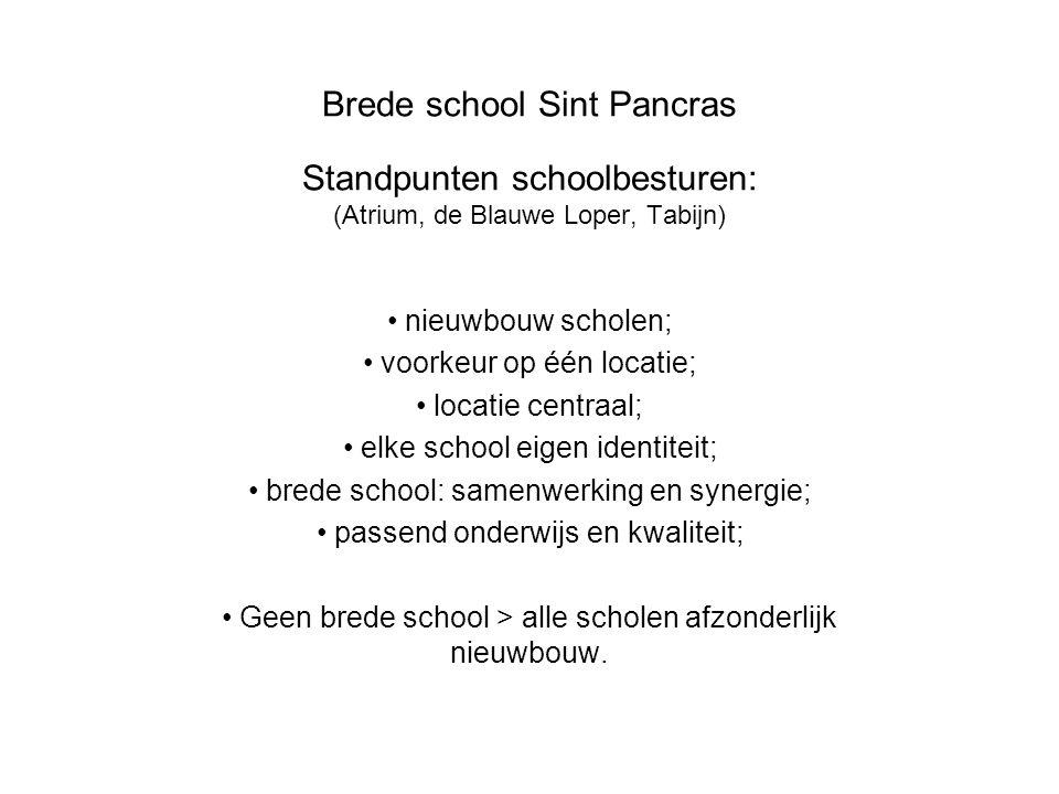 Brede school Sint Pancras Standpunten schoolbesturen: (Atrium, de Blauwe Loper, Tabijn) nieuwbouw scholen; voorkeur op één locatie; locatie centraal;