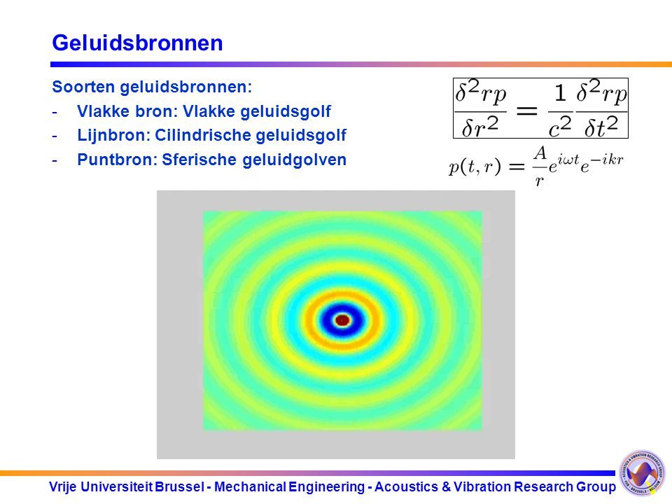 Vrije Universiteit Brussel - Mechanical Engineering - Acoustics & Vibration Research Group Geluidsbronnen Soorten geluidsbronnen: -Vlakke bron: Vlakke geluidsgolf -Lijnbron: Cilindrische geluidsgolf -Puntbron: Sferische geluidgolven