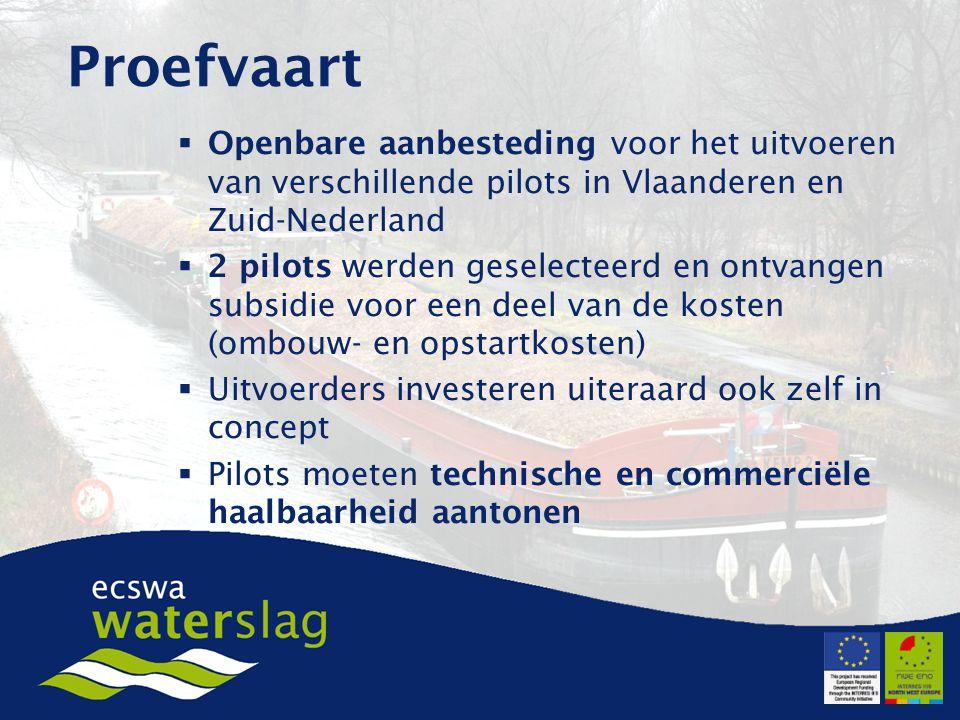  Openbare aanbesteding voor het uitvoeren van verschillende pilots in Vlaanderen en Zuid-Nederland  2 pilots werden geselecteerd en ontvangen subsidie voor een deel van de kosten (ombouw- en opstartkosten)  Uitvoerders investeren uiteraard ook zelf in concept  Pilots moeten technische en commerciële haalbaarheid aantonen Proefvaart