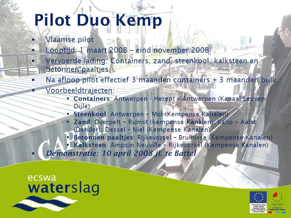 Pilot Duo Kemp  Vlaamse pilot  Looptijd: 1 maart 2008 – eind november 2008  Vervoerde lading: Containers, zand, steenkool, kalksteen en betonnen paaltjes  Na afloop pilot effectief 3 maanden containers + 3 maanden bulk  Voorbeeldtrajecten:  Containers: Antwerpen - Herent – Antwerpen (Kanaal Leuven- Dijle)  Steenkool: Antwerpen – Mol (Kempense Kanalen)  Zand: Overpelt – Rumst (kempense Kanalen); Kallo – Aalst (Dender); Dessel – Niel (Kempense Kanalen)  Betonnen paaltjes: Rijkevorsel – Bruinisse (Kempense Kanalen)  Kalksteen: Ampsin Neuville – Rijkevorsel (Kempense Kanalen)  Demonstratie: 10 april 2008 jl.