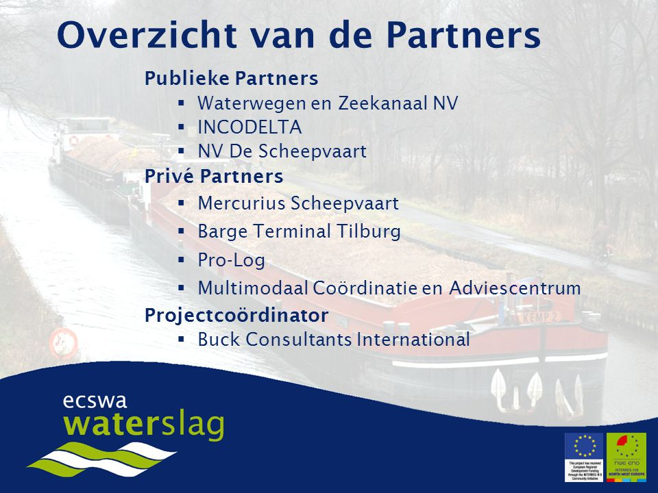 Overzicht van de Partners Publieke Partners  Waterwegen en Zeekanaal NV  INCODELTA  NV De Scheepvaart Privé Partners  Mercurius Scheepvaart  Barge Terminal Tilburg  Pro-Log  Multimodaal Coördinatie en Adviescentrum Projectcoördinator  Buck Consultants International