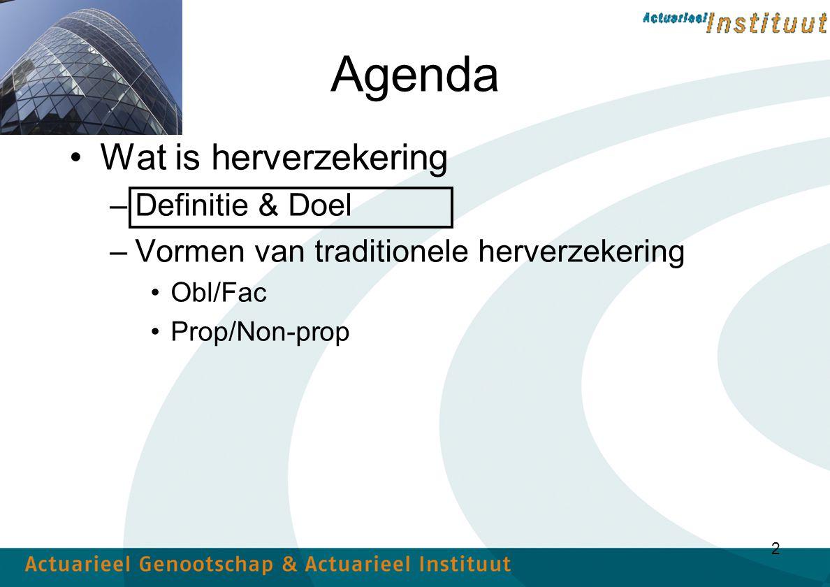 2 Agenda Wat is herverzekering –Definitie & Doel –Vormen van traditionele herverzekering Obl/Fac Prop/Non-prop
