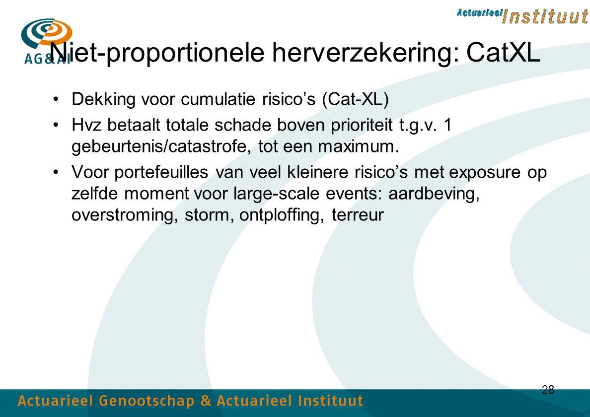 28 Niet-proportionele herverzekering: CatXL Dekking voor cumulatie risico's (Cat-XL) Hvz betaalt totale schade boven prioriteit t.g.v.