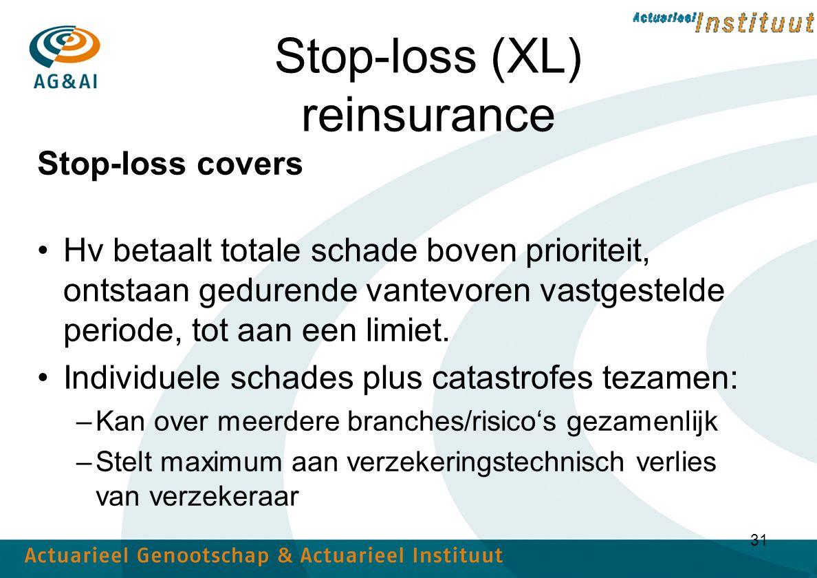 31 Stop-loss (XL) reinsurance Stop-loss covers Hv betaalt totale schade boven prioriteit, ontstaan gedurende vantevoren vastgestelde periode, tot aan een limiet.