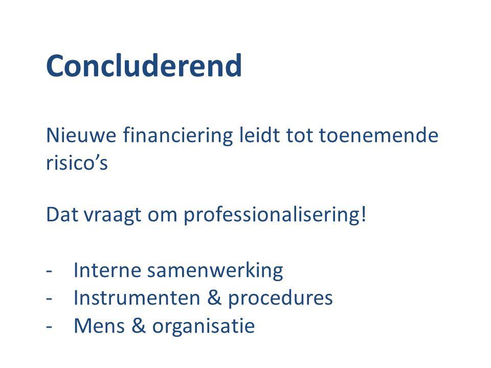 Concluderend Nieuwe financiering leidt tot toenemende risico's Dat vraagt om professionalisering! -Interne samenwerking -Instrumenten & procedures -Me
