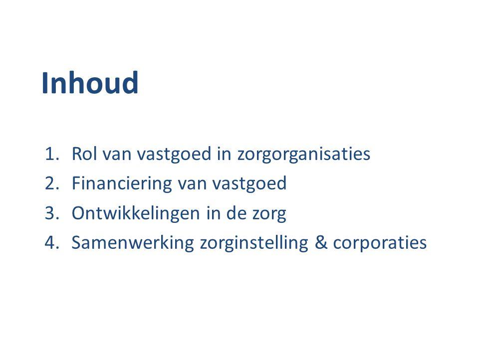 Inhoud 1.Rol van vastgoed in zorgorganisaties 2.Financiering van vastgoed 3.Ontwikkelingen in de zorg 4.Samenwerking zorginstelling & corporaties