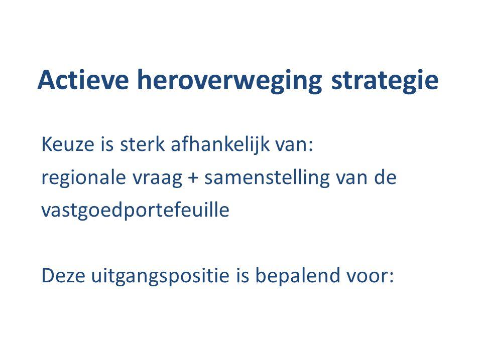 Actieve heroverweging strategie Keuze is sterk afhankelijk van: regionale vraag + samenstelling van de vastgoedportefeuille Deze uitgangspositie is be