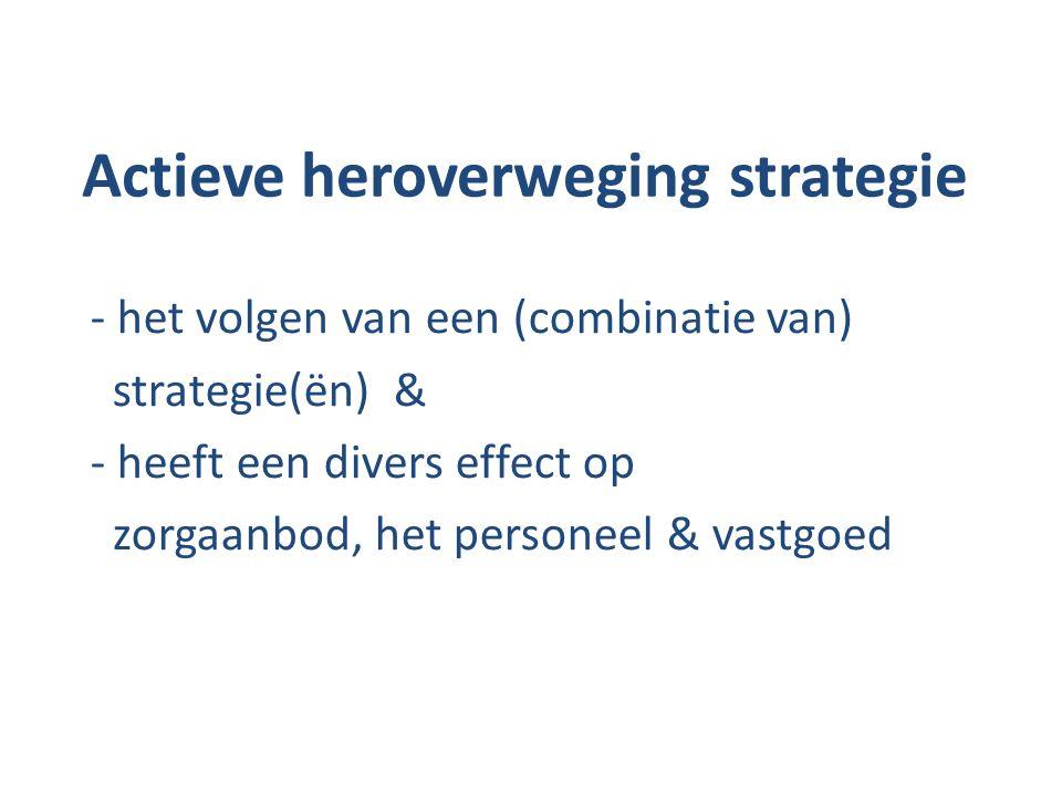 Actieve heroverweging strategie - het volgen van een (combinatie van) strategie(ën) & - heeft een divers effect op zorgaanbod, het personeel & vastgoe