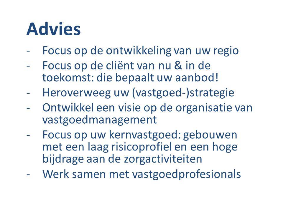 Advies -Focus op de ontwikkeling van uw regio -Focus op de cliënt van nu & in de toekomst: die bepaalt uw aanbod! -Heroverweeg uw (vastgoed-)strategie