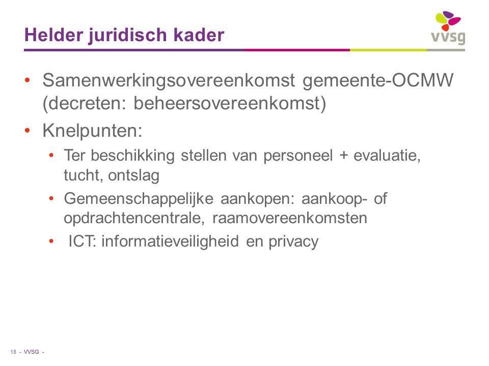 VVSG - Helder juridisch kader Samenwerkingsovereenkomst gemeente-OCMW (decreten: beheersovereenkomst) Knelpunten: Ter beschikking stellen van personee