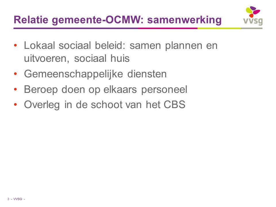 VVSG - Relatie gemeente-OCMW: samenwerking Lokaal sociaal beleid: samen plannen en uitvoeren, sociaal huis Gemeenschappelijke diensten Beroep doen op