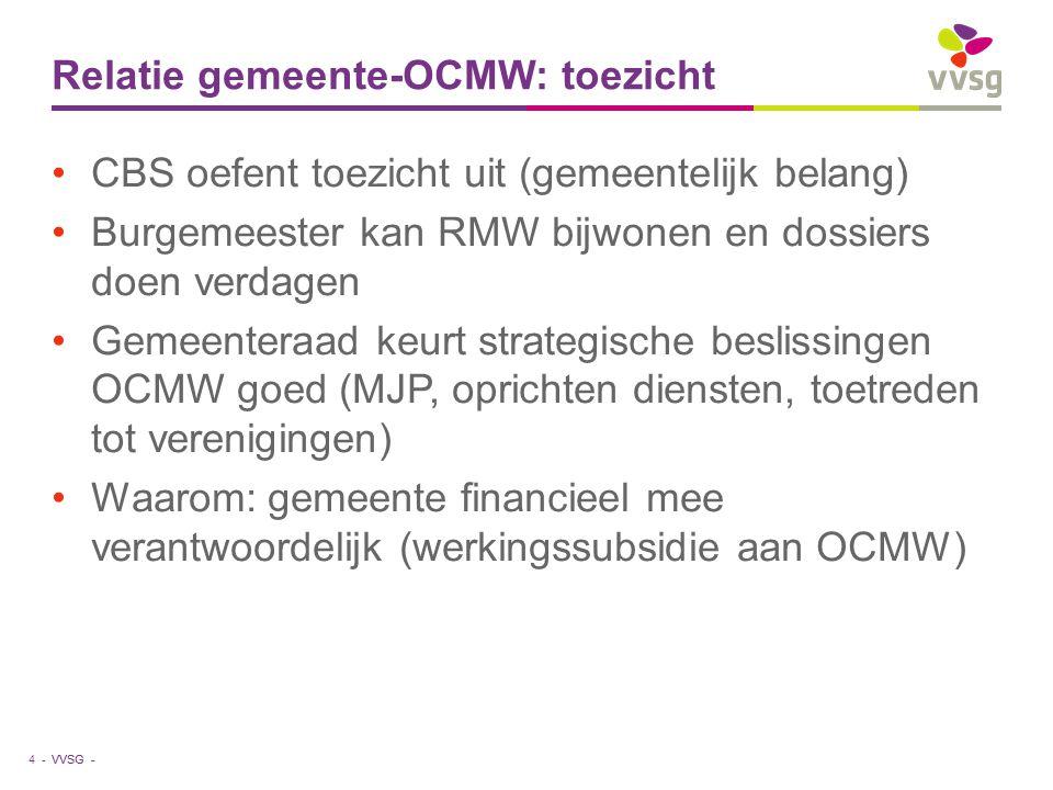 VVSG - Relatie gemeente-OCMW: toezicht CBS oefent toezicht uit (gemeentelijk belang) Burgemeester kan RMW bijwonen en dossiers doen verdagen Gemeenter
