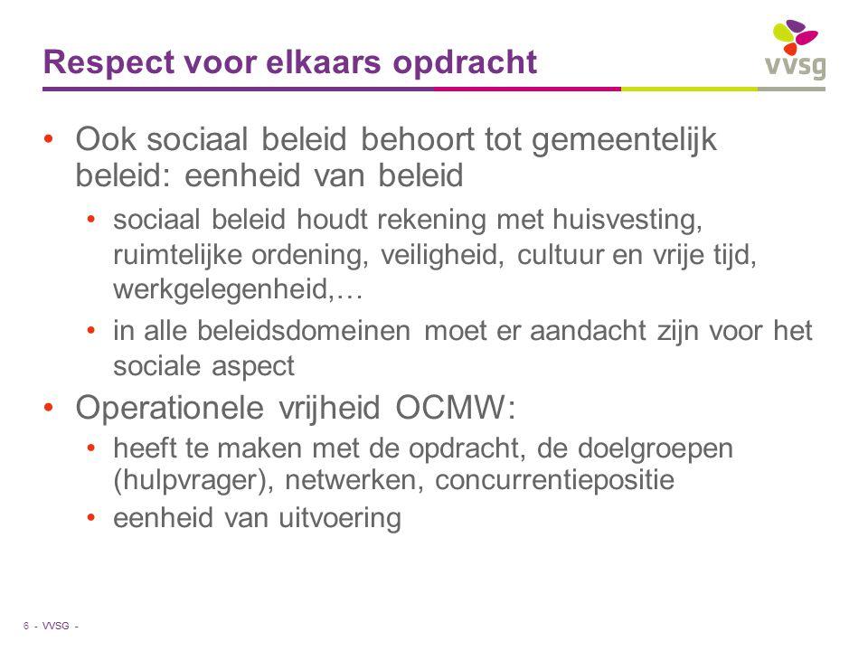 VVSG - Respect voor elkaars opdracht Ook sociaal beleid behoort tot gemeentelijk beleid: eenheid van beleid sociaal beleid houdt rekening met huisvest
