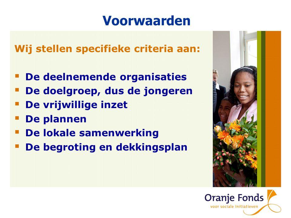Voorwaarden Wij stellen specifieke criteria aan:  De deelnemende organisaties  De doelgroep, dus de jongeren  De vrijwillige inzet  De plannen  De lokale samenwerking  De begroting en dekkingsplan