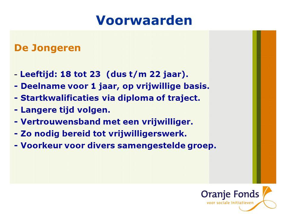 Voorwaarden De Jongeren - Leeftijd: 18 tot 23 (dus t/m 22 jaar).