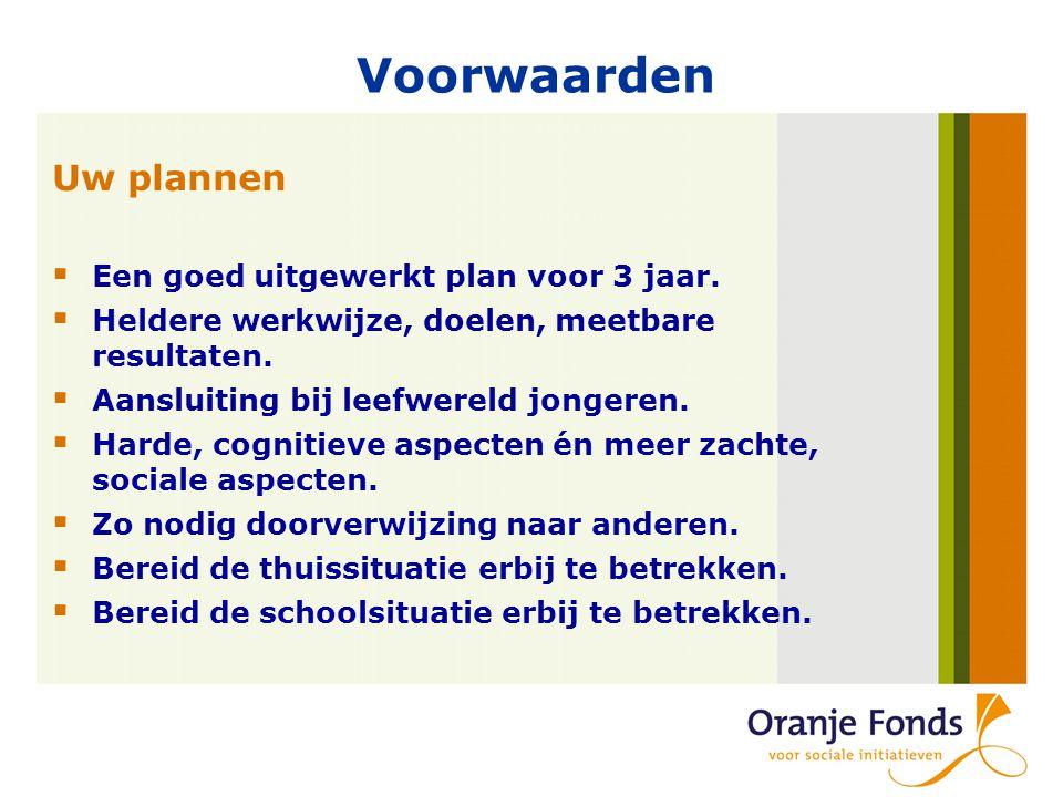 Voorwaarden Uw plannen  Een goed uitgewerkt plan voor 3 jaar.