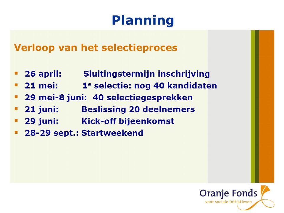 Planning Verloop van het selectieproces  26 april: Sluitingstermijn inschrijving  21 mei: 1 e selectie: nog 40 kandidaten  29 mei-8 juni: 40 selectiegesprekken  21 juni: Beslissing 20 deelnemers  29 juni: Kick-off bijeenkomst  28-29 sept.: Startweekend