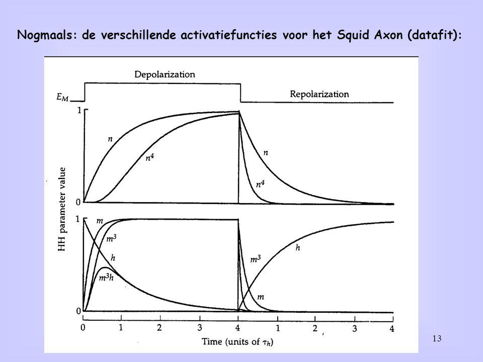 13 Nogmaals: de verschillende activatiefuncties voor het Squid Axon (datafit):
