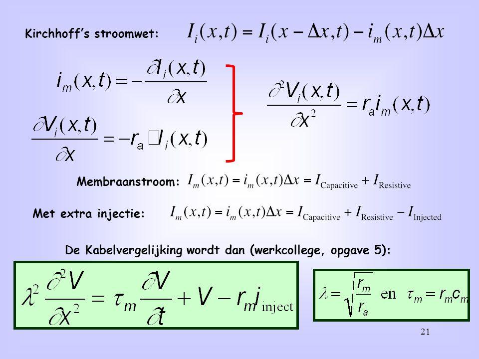 21 Kirchhoff's stroomwet: Membraanstroom: Met extra injectie: De Kabelvergelijking wordt dan (werkcollege, opgave 5):
