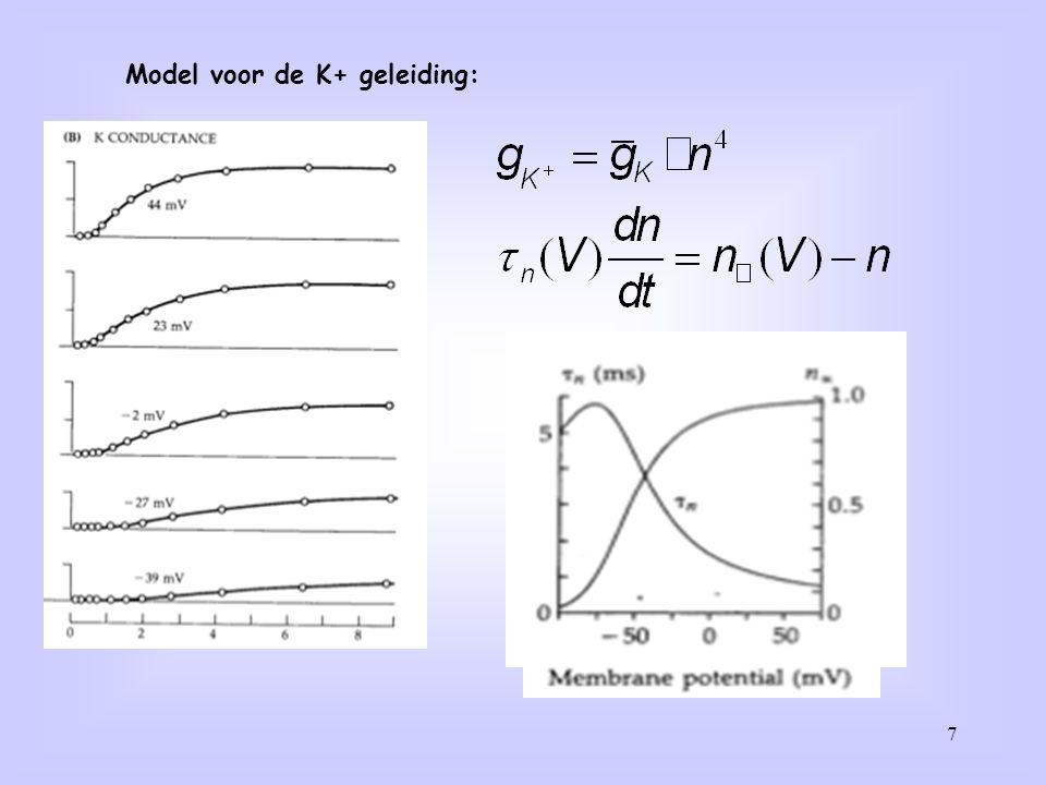 8 De eiwitstructuur van het K+ kanaal. K+ kanaal open (L) en dicht (R) K+ ion