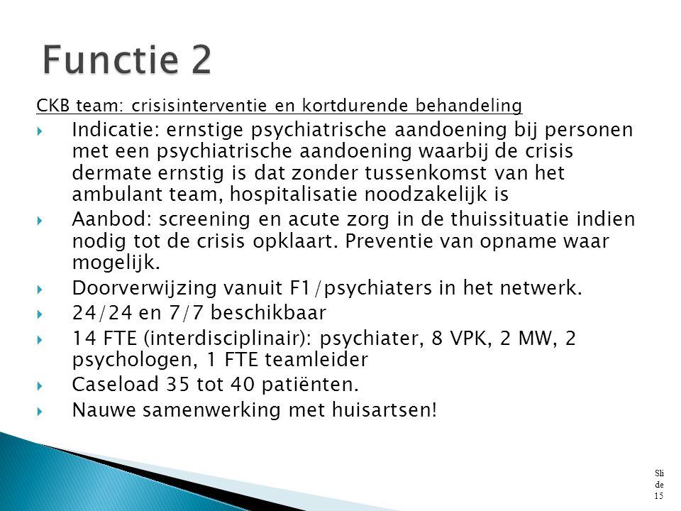 CKB team: crisisinterventie en kortdurende behandeling  Indicatie: ernstige psychiatrische aandoening bij personen met een psychiatrische aandoening