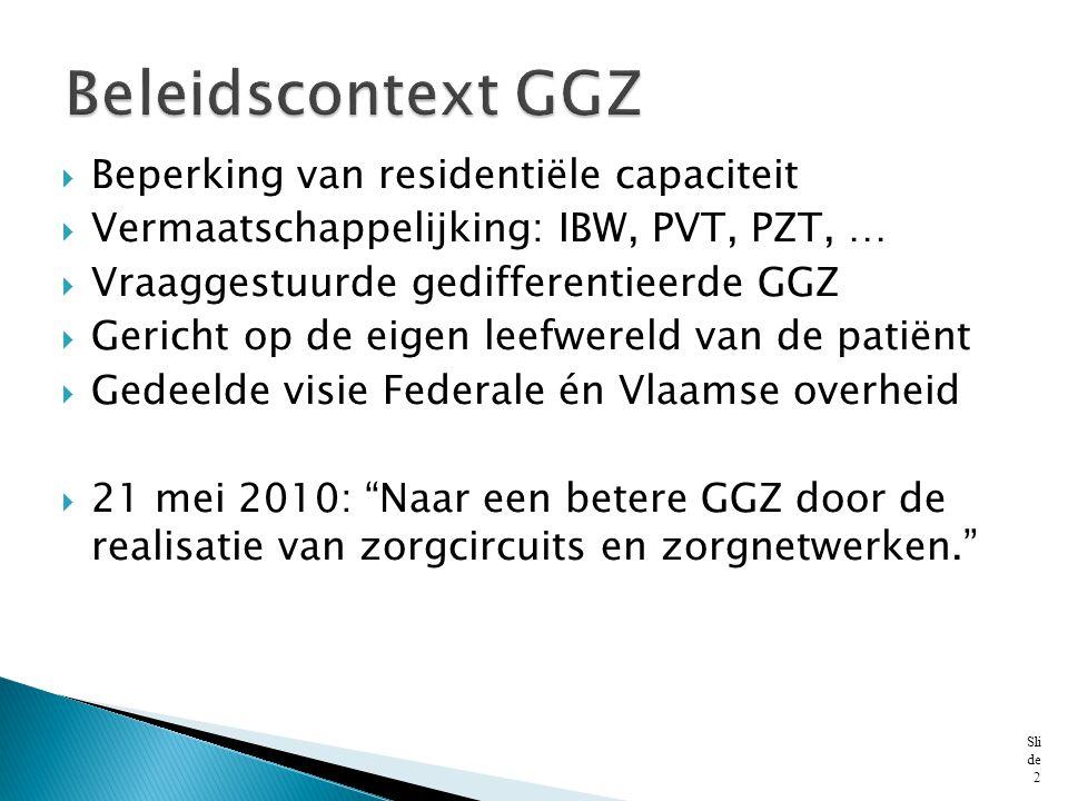  Beperking van residentiële capaciteit  Vermaatschappelijking: IBW, PVT, PZT, …  Vraaggestuurde gedifferentieerde GGZ  Gericht op de eigen leefwer